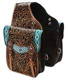 Manaal Enterprises Cow Hide Echtleder Western Trail Tooling Carving Pferdesatteltasche, Größe: 12'L x 11' B x 3'T