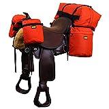 TrailMax SaddleBag System, mittelgroßes Übernachtungs-Kombi-Pack mit Pferde-Satteltaschen, abnehmbarer Cantle Bag & Horntaschen in Orange