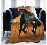 Fansu Kuscheldecke Flanell Decke, 3D Drucken Microfaser Flauschig Weich Warm Plüsch Wohndecke Fleece Tagesdecke Decke für Sofa und Bett (Pferd,150x200cm)