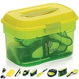 Adozen Pferde-Putzbox mit Inhalt | 10-Teilig befüllt | Soft Touch Antirutschgriffe | Limette-Grün-Gelb