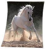 VonBueren Fleecedecke mit Pferdemotiv | ca. 130x160 cm | aus 100% Polyester | maschinenwaschbar | Kuscheldecke