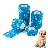 Tompig Selbstklebender Verband für Haustiere, SenPuSi 4 Rollen Haftbandagen Selbstklebende Bandagen Wasserfest Elastischer Faservlies, Erste Hilfe Sport Haftbandage