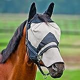 Horze Fliegenmaske Pferd mit Langer Nase für Pferde, langlebig, für den Einsatz auf der Weide oder im Stall, voller Schutz, Schutzmaske Pferde, Ohrenschutz, Braun, F