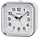 Seiko Wecker weiß Kunststoff Schleichende Sekunde QHE130W
